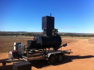 Pyrolysis kiln on trailer